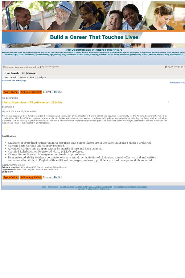 Clinical Supervisor job at Kindred Healthcare in Madison, WI ...