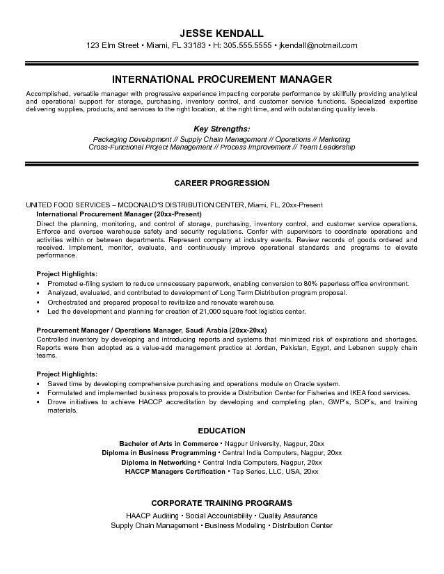 Free International Procurement Manager Resume Example