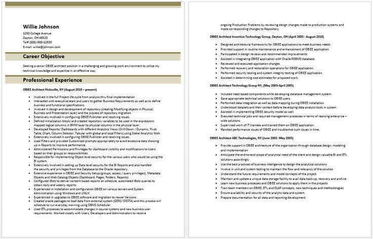 OBIEE Architect Resume | Architect Resume Samples | Pinterest ...