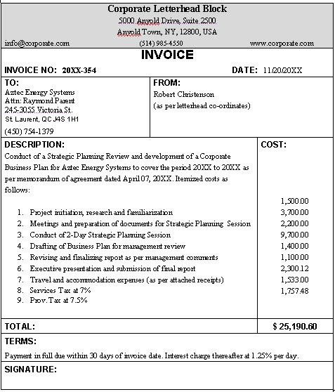 Business invoice sample... format for a typical business invoice.
