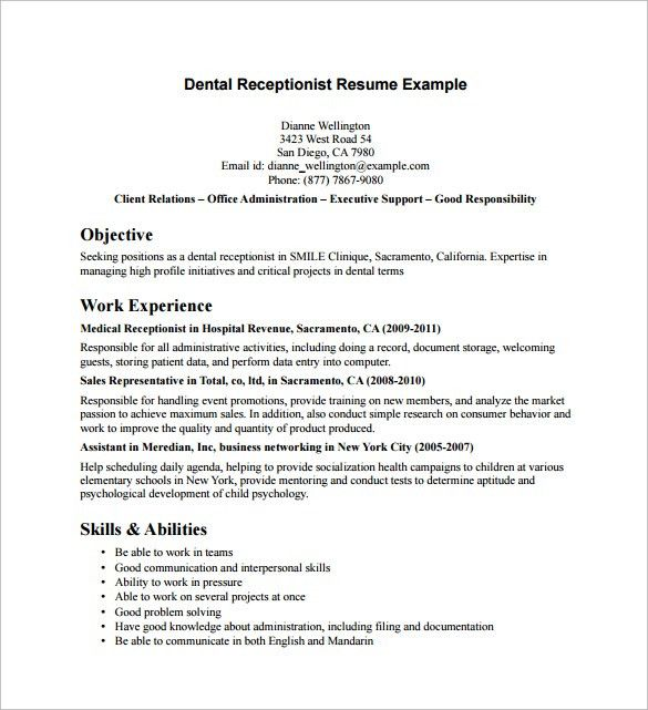 Download Receptionist Resume Samples | haadyaooverbayresort.com