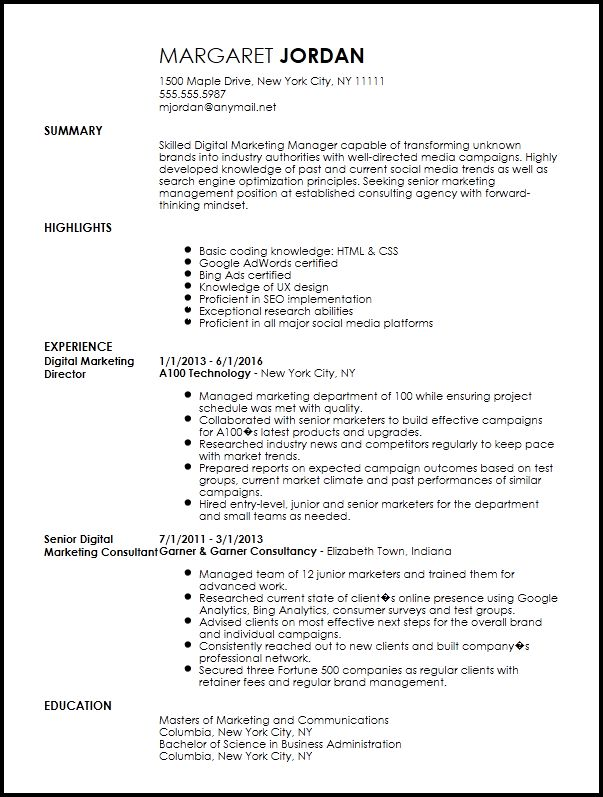 Free Executive Digital Marketing Manager Resume Template | ResumeNow