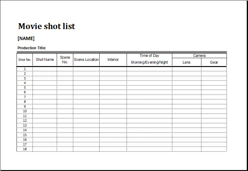 Movie Shot List Template for MS EXCEL | Excel Templates