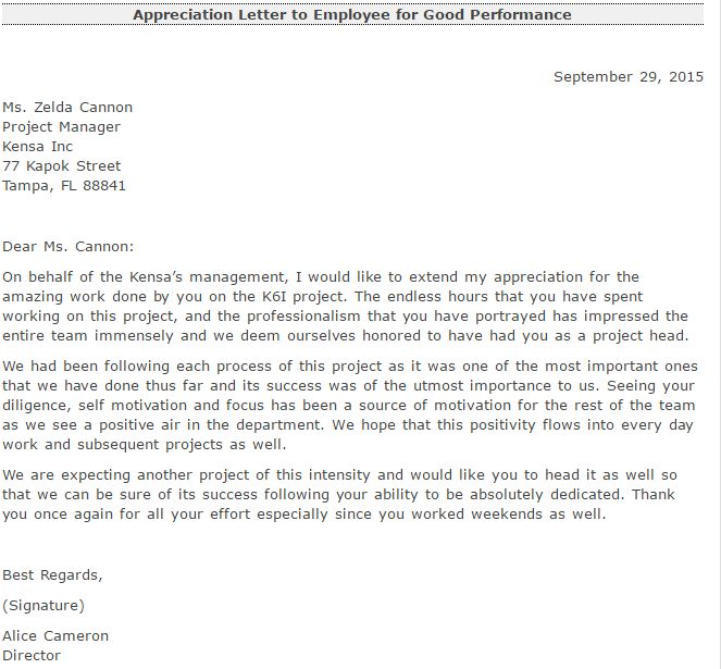 Appreciation Letter For Good Performance - Writing Professional ...