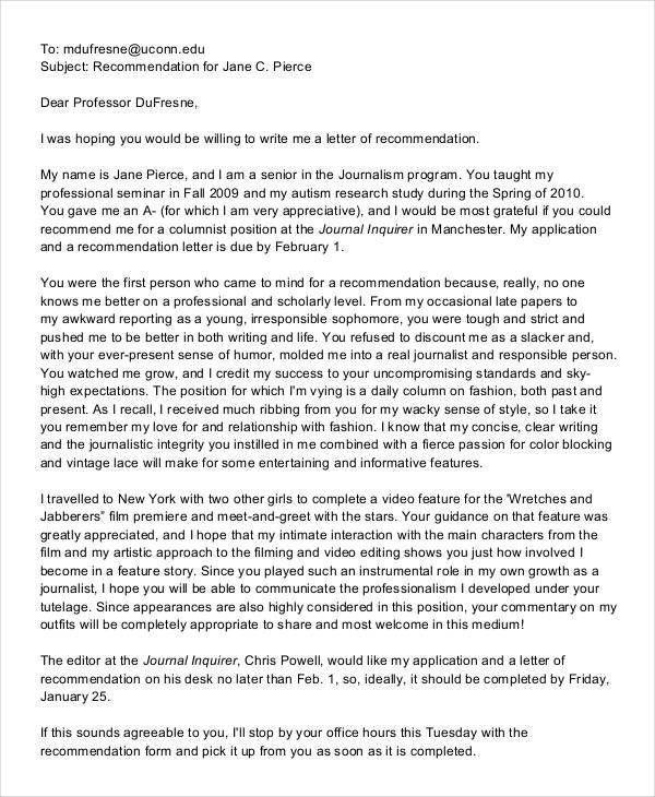 Recommendation Letter. Email Recommendation Letters | Matias ...