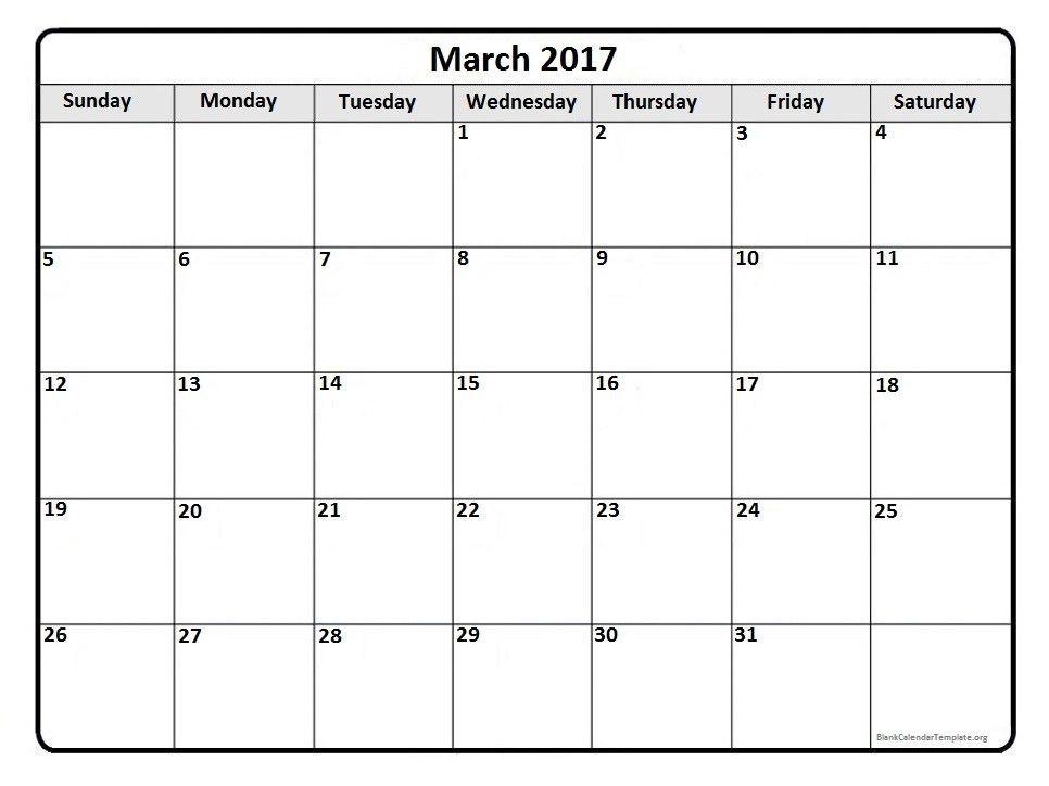 March 2017 Calendar Template | weekly calendar template