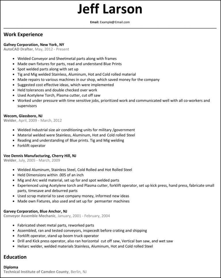 Resume Objective Examples For Welding - Contegri.com