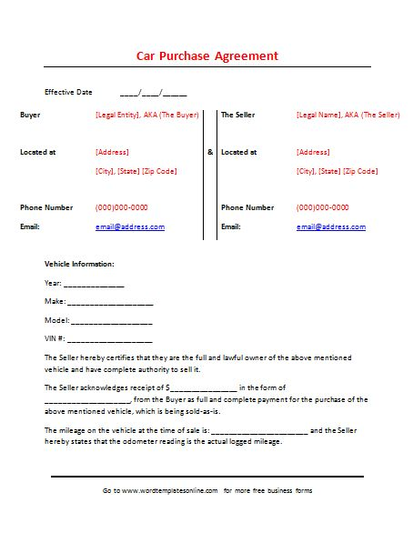 Printable Car Purchase Agreement Template for Word