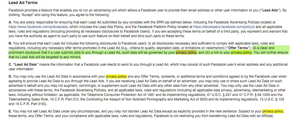 Privacy policy for Facebook Lead Ads - How to