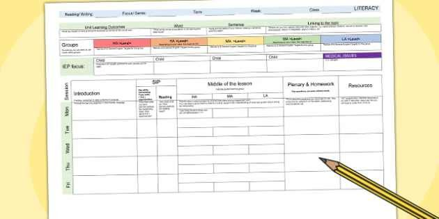 Weekly Planning Template - lesson plan, plans