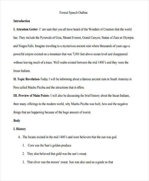 Formal Outline Template. Best Format For Essay Outline English ...