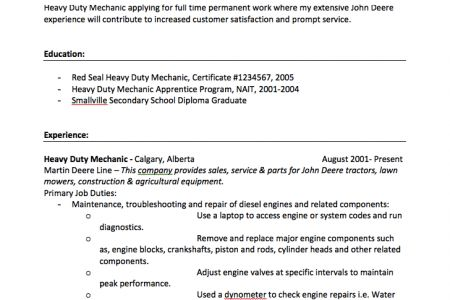 Sample Auto Mechanic Resume Auto Mechanic Resume Template Example ...