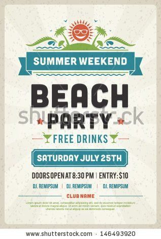 Retro summer party design poster or flyer. Night club event ...