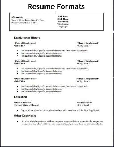 combined resume template. photo different types of resume formats ...