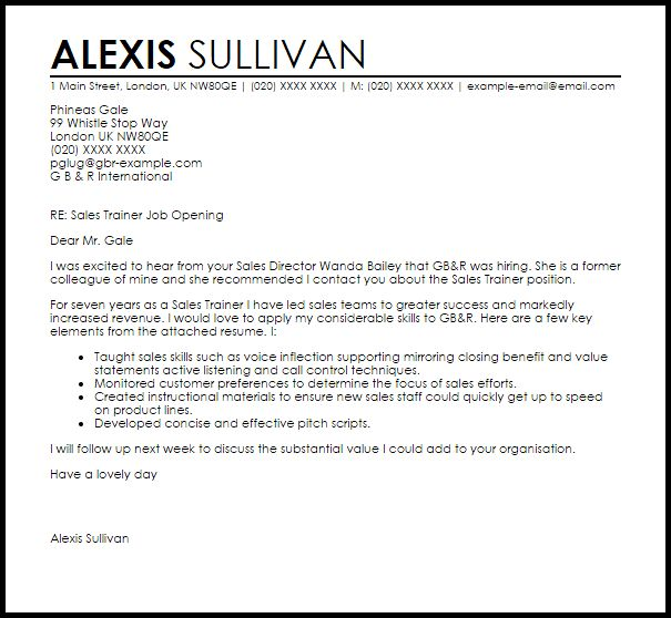 Sales Trainer Cover Letter Sample | LiveCareer