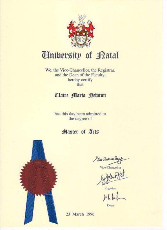 Qualifications - Claire Newton