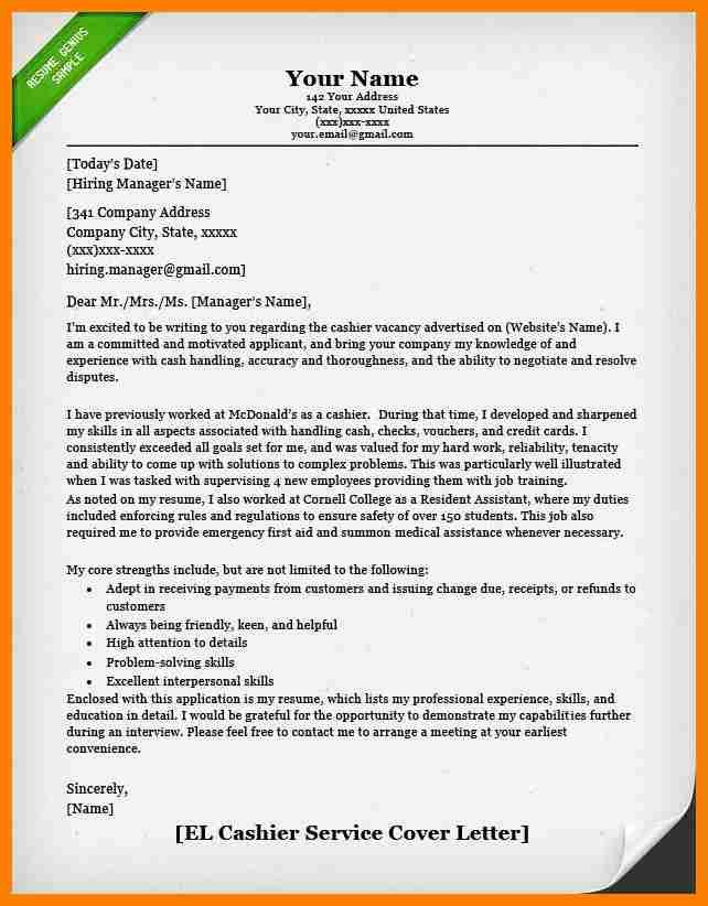 sample cashier cover letter cashier cover letter example