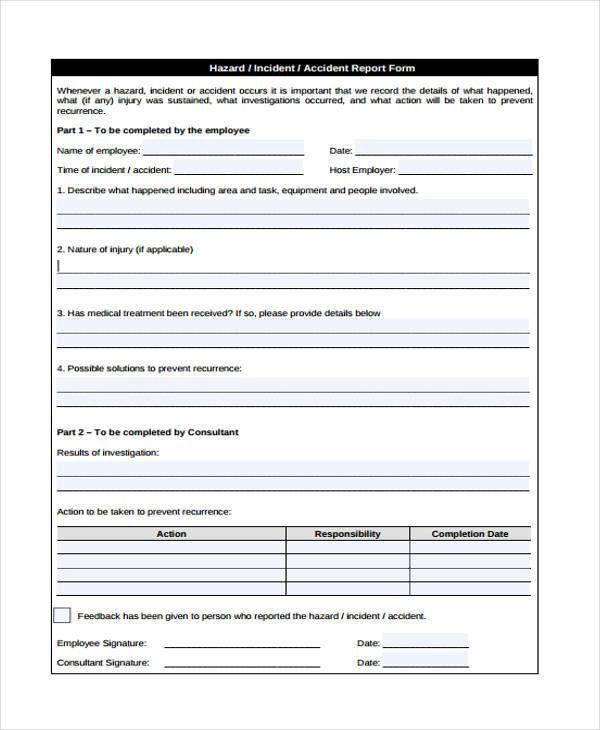 employee incident report sample