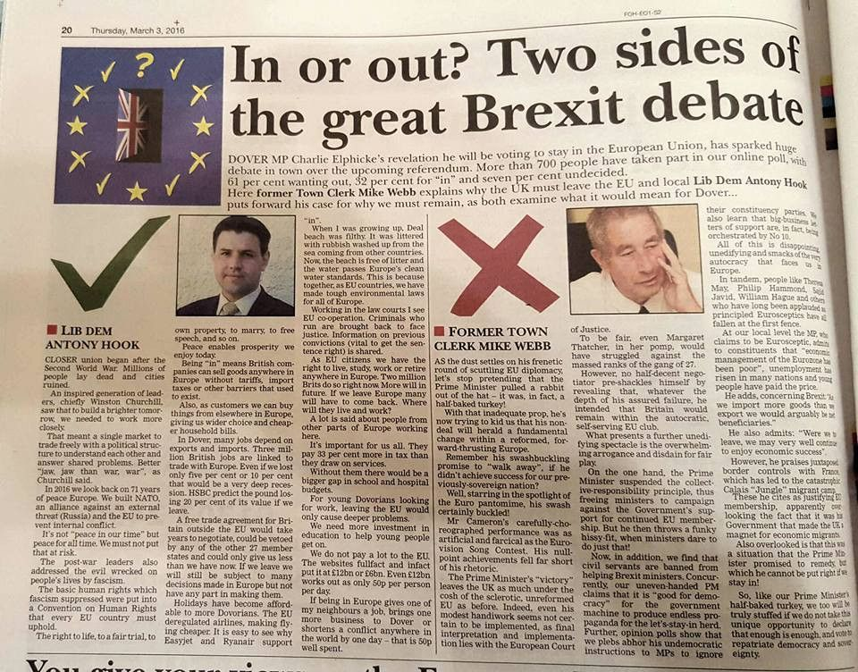 EURef: An example local newspaper article for IN