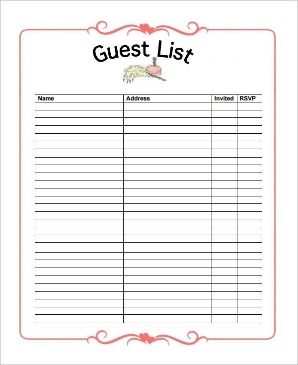 10+ Party guest list templates - Word Excel PDF Formats