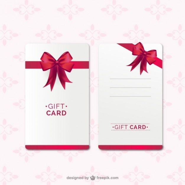 Gift card template with red ribbon Vector | Free Download