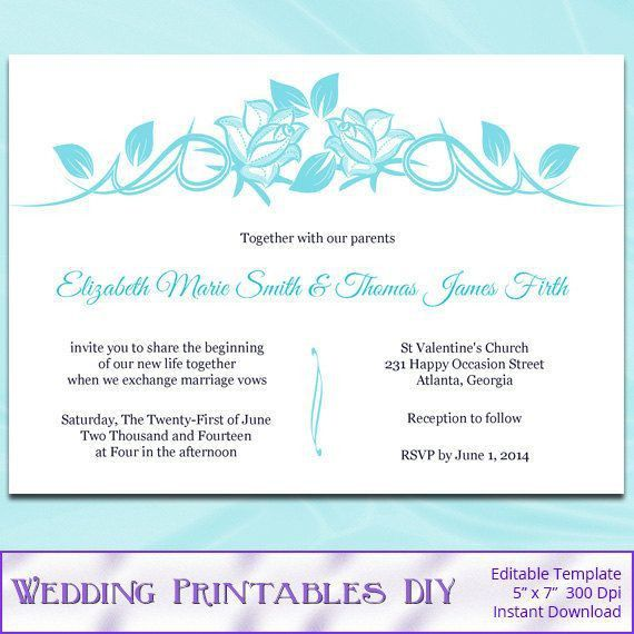 Gray Wedding Invitations Template Diy by WeddingPrintablesDiy ...