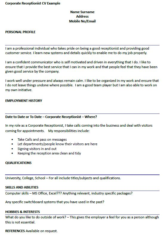 Corporate Receptionist CV Example - icover.org.uk