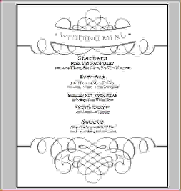 7+ wedding menu template free | Procedure Template Sample