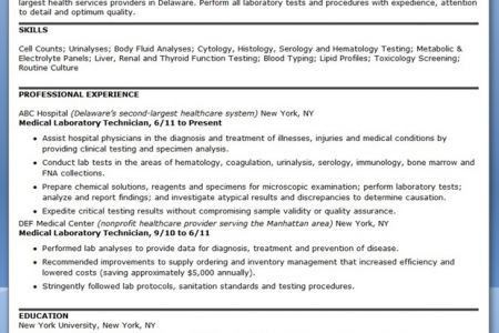 Examples Of Medical Laboratory Technologist Resume - Reentrycorps