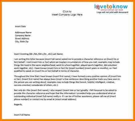 10+ character letter of recommendation sample | resume reference