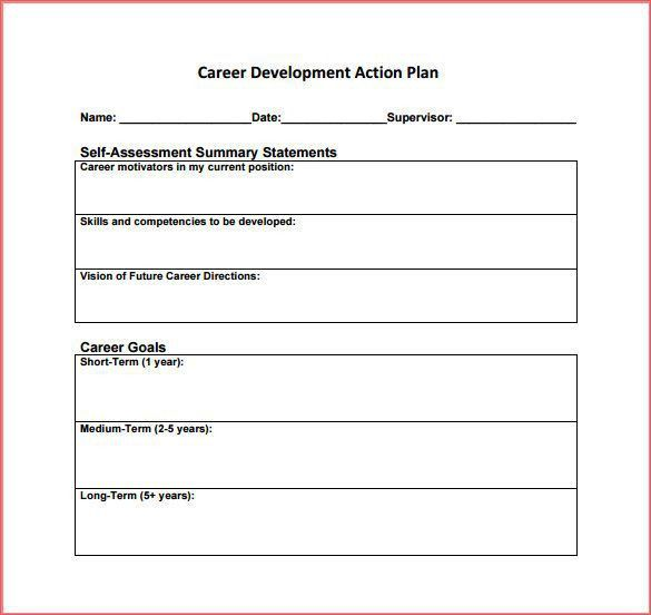 Simple Business Action Plan Template for Career Development with ...