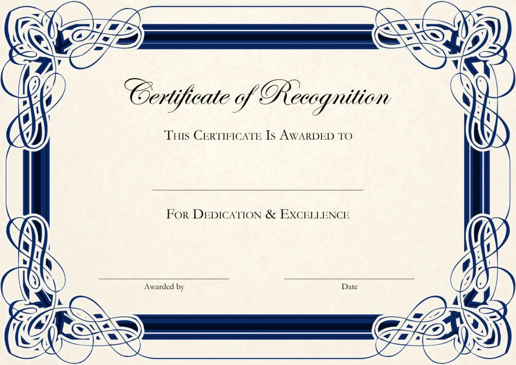 Printable Certificate of Recognition Templates | Certificate Templates