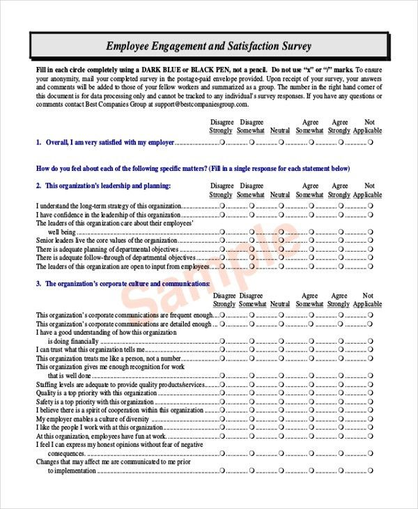 Sample Satisfaction Questionnaire Form - 11+ Free Documents in ...