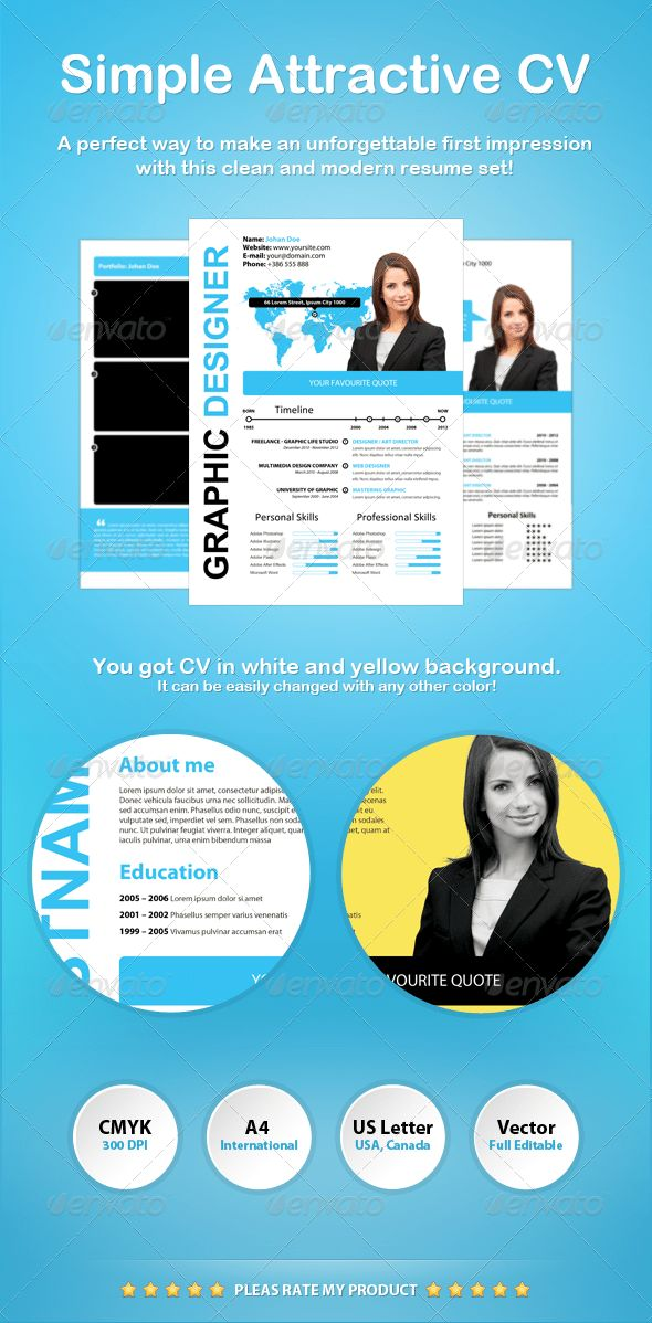 Simple Attractive CV | Modern resume, Psd templates and Creative cv