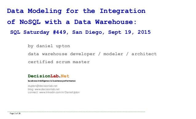 Data Modeling for Integration of NoSQL with a Data Warehouse