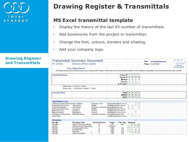 What's new in Synergy 4.8.5 - Drawing Register and Transmittals