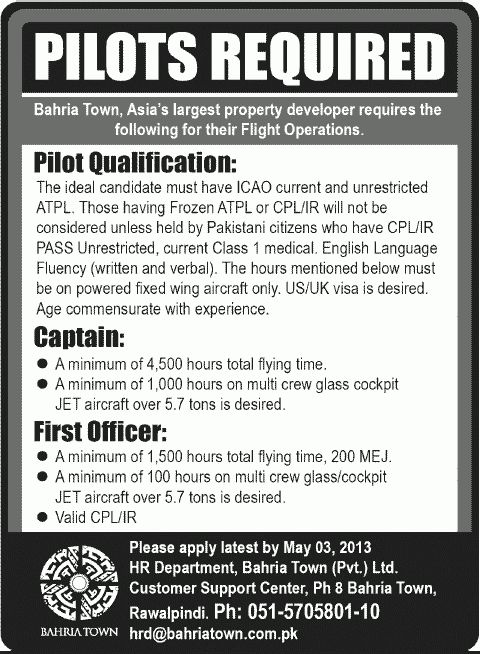 Captain Job, Bahria Town Job, Pilots, Flight Operations, First ...