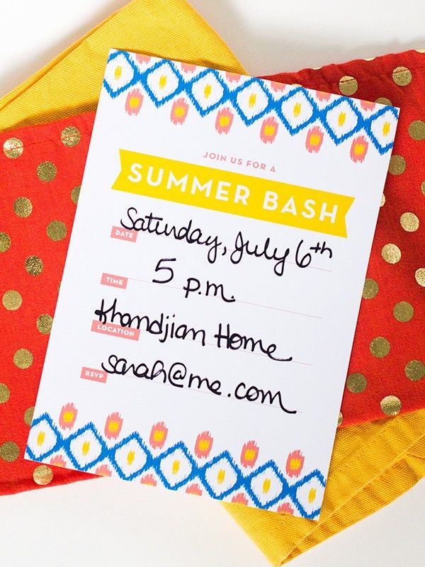 Printable Ikat Summer Party Invitation | The Flair Exchange®The ...