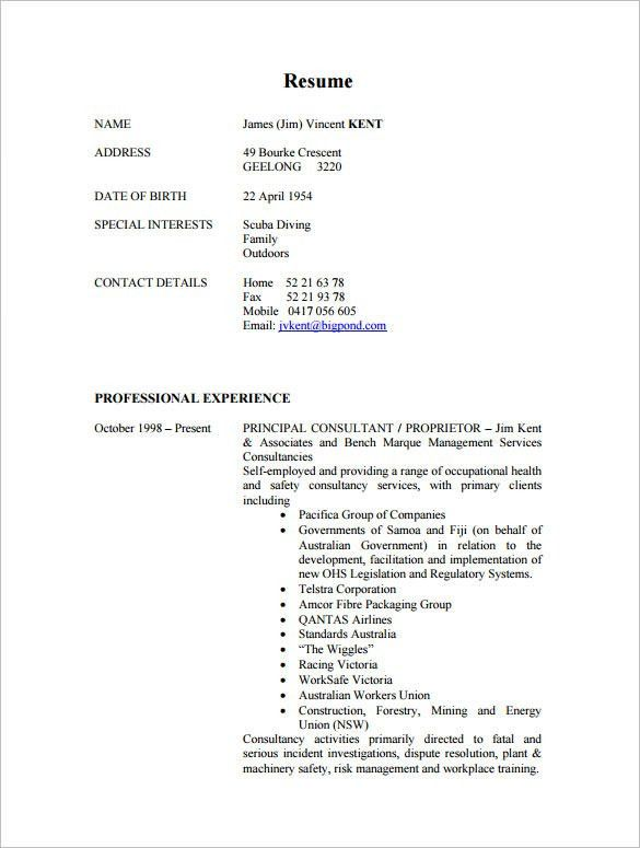 Consultant Resume Template – 9+ Free Samples, Examples, Format ...