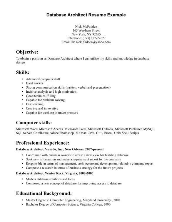 Excellent Database Architect Resume Template plus Skills and ...