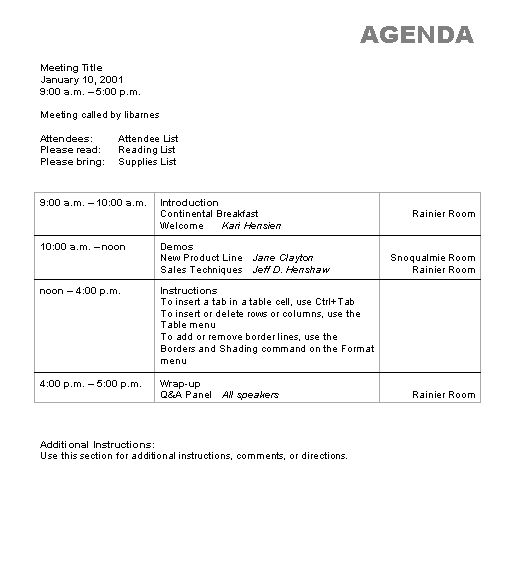 Nice Agenda Template Word Example for Meeting Featuring Table ...