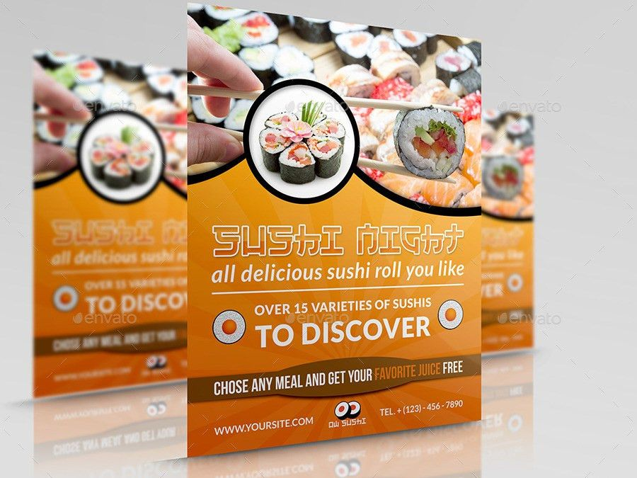 Sushi Restaurant Flyer by OWPictures | GraphicRiver
