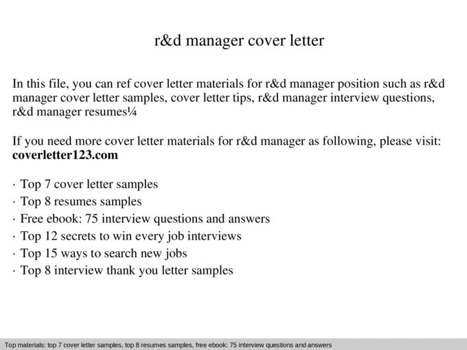 R&d manager cover letter - Documents