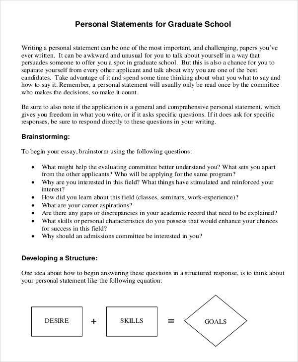 Sample graduate personal statement for graduate school