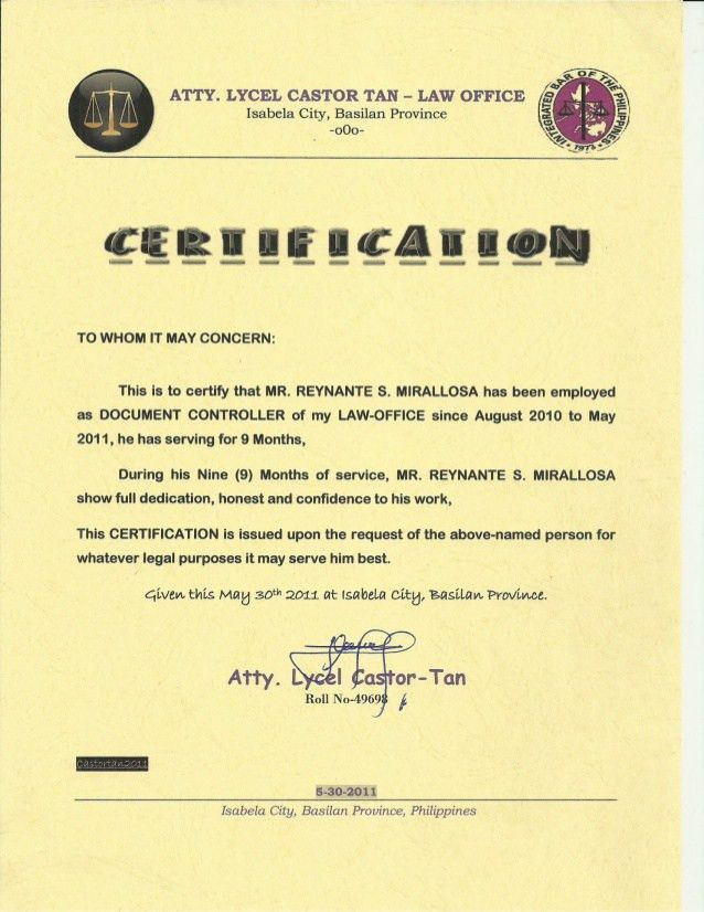 Certificate of employment [castor tan law office]