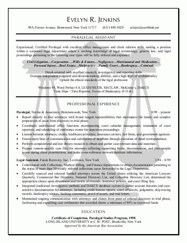 Paralegal resume example - sample resume