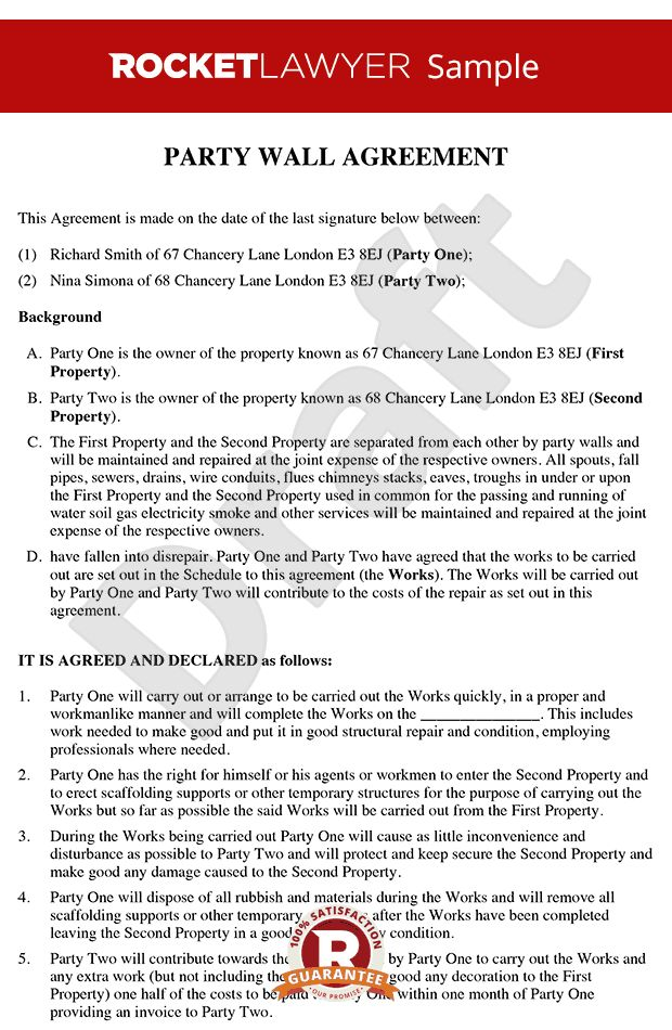 Wall Agreement - Create a Party Wall Agreement Template