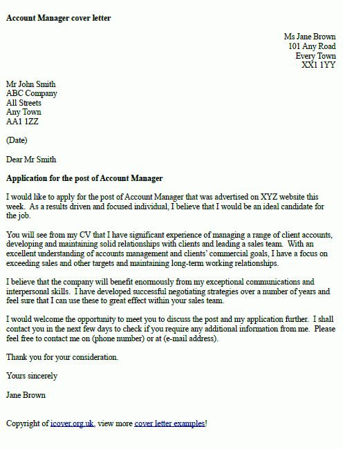 Account Manager Cover Letter Example | cover letter examples ...