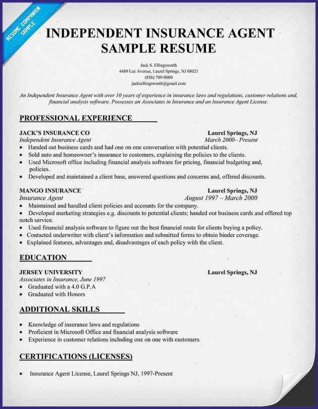 Sample Resume For Life Insurance Agent. 3 insurance sales agent ...
