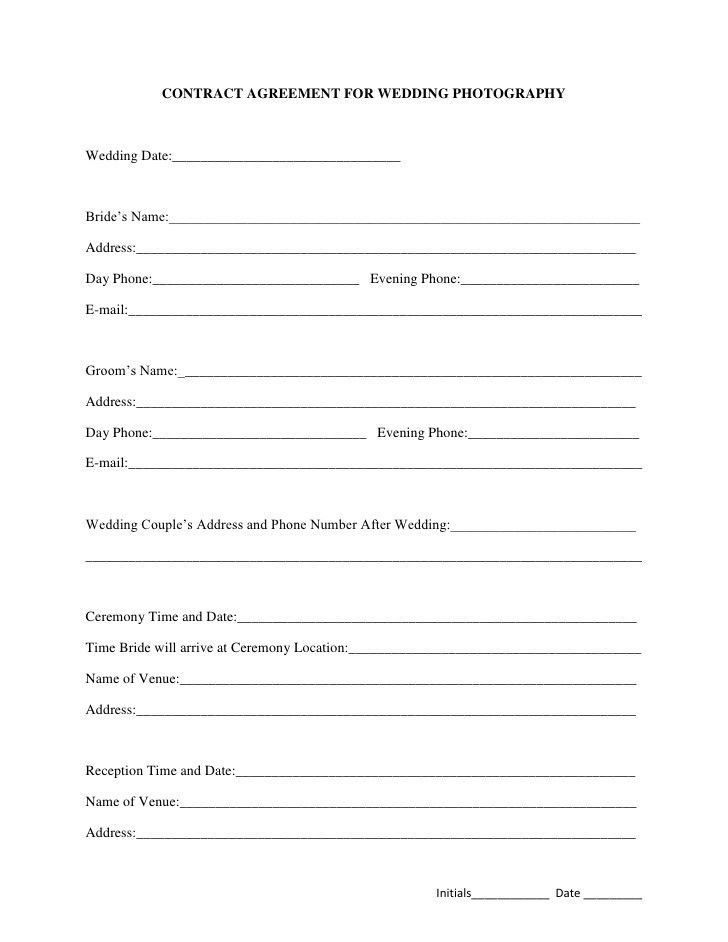 Printable Sample Wedding Photography Contract Template Form ...